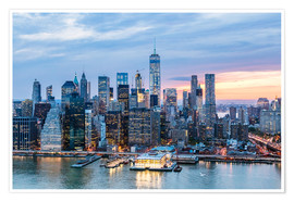 Póster Premium  Freedom tower and lower Manhattan skyline at dusk, New York, USA - Matteo Colombo