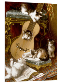 Quadro em PVC  Kittens at play with a guitar - Jules Le Roy