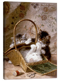 Quadro em tela  Young cats with a sewing basket - Henriette Ronner-Knip