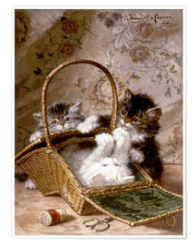 Póster Premium Young cats with a sewing basket