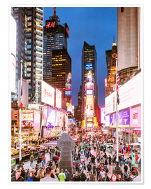 Póster Premium  Times square at night illuminated by neon lights, New York city, USA - Matteo Colombo
