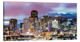 Quadro em tela  Panoramic of San Francisco downtown district skyline at night, California, USA - Matteo Colombo