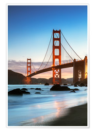 Póster Premium  Golden gate bridge at dawn from Baker beach, San Francisco, California, USA - Matteo Colombo