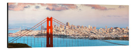 Quadro em alumínio  Panoramic sunset over Golden gate bridge and San Francisco bay, California, USA - Matteo Colombo