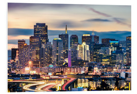 Quadro em PVC  San Francisco downtown district skyline at night, California, USA - Matteo Colombo