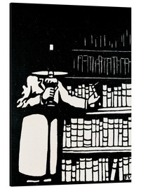 Quadro em alumínio  A booklover holding a lamp as he takes a book from his library - Felix Edouard Vallotton