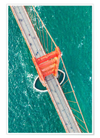 Póster Premium  Aerial view of Golden gate bridge, San Francisco, California, USA - Matteo Colombo