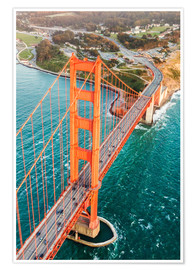 Póster Premium  Flying over Golden gate bridge, San Francisco, California, USA - Matteo Colombo