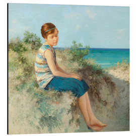 Quadro em alumínio  Girl in the dunes by the North Sea beach on Sylt - Hermann Seeger