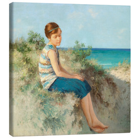 Quadro em tela  Girl in the dunes by the North Sea beach on Sylt - Hermann Seeger