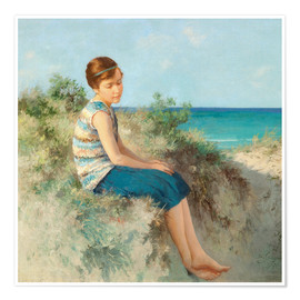 Póster Premium  Girl in the dunes by the North Sea beach on Sylt - Hermann Seeger