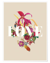Póster Premium Exotic Love flowers botanical art