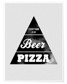 Póster Premium  Food graphic beer pizza logo parody - Nory Glory Prints