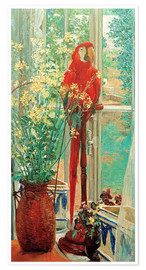 Póster Premium Flower still life with parrot at the window