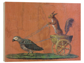 Quadro de madeira  Parrot draws cars with squirrels