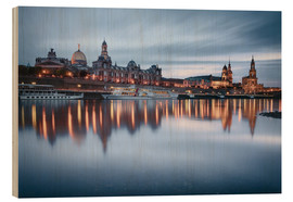 Quadro de madeira  Dresden old town at the blue hour - Philipp Dase
