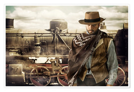 Póster Premium  Gunslinger of the Wild West