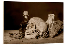 Quadro de madeira  Still Life - skull, ancient book, dry rose and candle