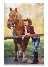 Póster Premium young cowgirl and horse