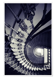 Póster Premium Beautiful ornamented spiral staircase