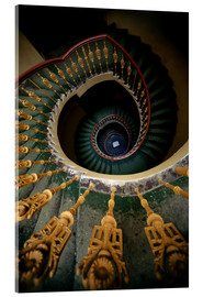 Quadro em acrílico  Ornamented spiral staircase in green and yellow - Jaroslaw Blaminsky