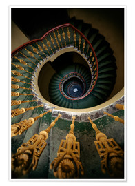 Póster Premium  Ornamented spiral staircase in green and yellow - Jaroslaw Blaminsky