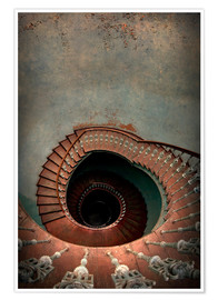 Póster Premium Spiral staircase in red