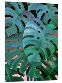 Quadro em PVC  Monstera Love in Teal and Emerald Green - Micklyn Le Feuvre