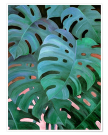 Póster Premium  Monstera Love in Teal and Emerald Green - Micklyn Le Feuvre