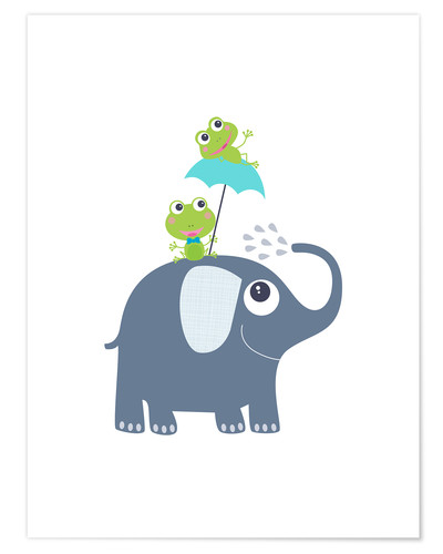Póster Premium Frogs and elephant