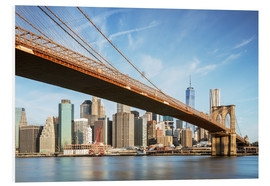 Quadro em PVC  Brooklyn bridge and Manhattan skyline at sunrise, New York city, USA - Matteo Colombo