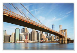 Póster Premium  Brooklyn bridge and Manhattan skyline at sunrise, New York city, USA - Matteo Colombo