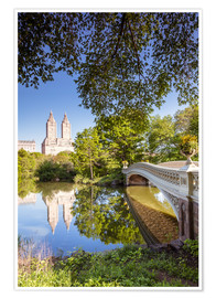 Póster Premium  Famous bow bridge in Central Park, New York city, USA - Matteo Colombo