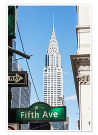 Póster Premium Crysler building and Fifth avenue sign, New York city, USA