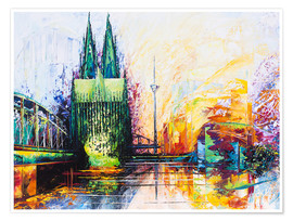 Póster Premium  Cologne Cathedral Skyline colored - Renate Berghaus