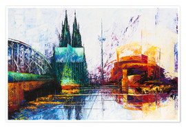 Póster Premium  Cologne Cathedral Skyline - Renate Berghaus