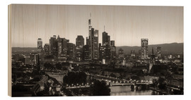 Quadro de madeira  Frankfurt skyline black and white - rclassen