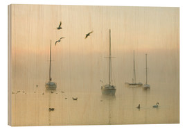 Quadro de madeira  A misty morning over Lake Windermere Lake District