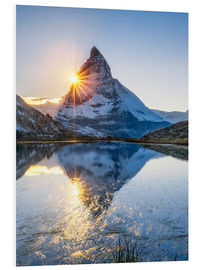 Quadro em PVC  Riffelsee and Matterhorn in the Swiss Alps - Jan Christopher Becke