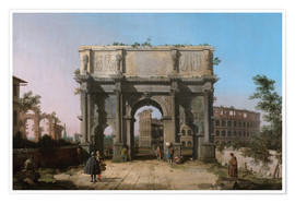 Póster Premium Arch of Constantine with the Colosseum
