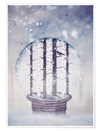 Póster Premium Snowglobe with birch trees and raven