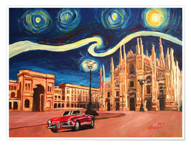 Póster Premium Starry Night in Milan Italy Oldtimer and Cathedral