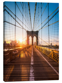 Quadro em tela  Brooklyn Bridge in the sunlight, New York City, USA - Jan Christopher Becke