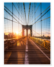 Póster Premium  Brooklyn Bridge in the sunlight, New York City, USA - Jan Christopher Becke