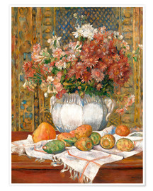 Póster Premium Still Life with Flowers and Prickly Pears