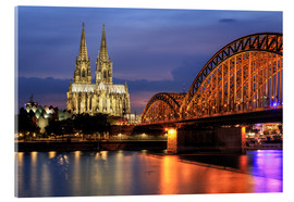 Quadro em acrílico  Cologne Cathedral and Hohenzollern Bridge at night - Oliver Henze