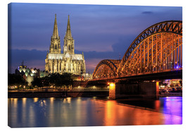 Quadro em tela  Cologne Cathedral and Hohenzollern Bridge at night - Oliver Henze