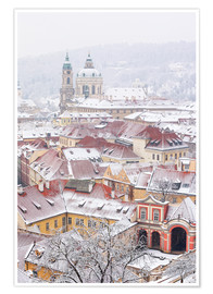 Póster Premium  winter roofs of Ledebursky palace and St. Nicolas church, Prague