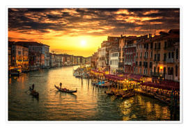 Póster Premium  Grand Canal at sunset