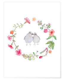 Póster Premium  Wreath with love birds - Verbrugge Watercolor